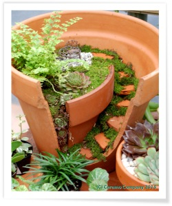 Fairy Garden Crafted From terra Cotta Flowerpot